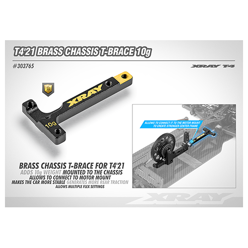 T4'21Brass Chassis T-Brace 10G